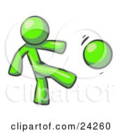 Clipart Illustration Of A Lime Green Man Kicking A Ball Really Hard While Playing A Game by Leo Blanchette