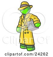 Clipart Illustration Of A Secretive Lime Green Man In A Trench Coat And Hat Carrying A Box With A Question Mark On It