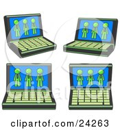 Clipart Illustration Of Four Laptop Computers With Three Lime Green Men On Each Screen