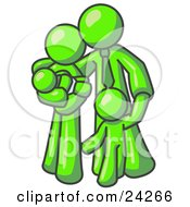Clipart Illustration Of A Lime Green Family Man A Father Hugging His Wife And Two Children by Leo Blanchette