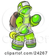 Clipart Illustration Of A Lime Green Fireman In A Uniform Fighting A Fire by Leo Blanchette