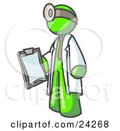 Clipart Illustration Of A Lime Green Male Doctor Holding A Clipboard And Wearing A Head Lamp
