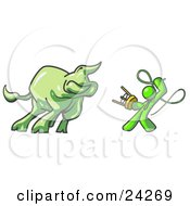 Clipart Illustration Of A Lime Green Man Holding A Stool And Whip While Taming A Bull Bull Market by Leo Blanchette