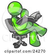 Clipart Illustration Of A Lime Green Man Sitting Cross Legged In A Chair And Reading A Book by Leo Blanchette