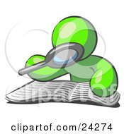 Clipart Illustration Of A Lime Green Man Using A Magnifying Glass To Examine The Facts In The Daily Newspaper