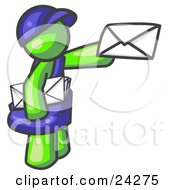 Clipart Illustration Of A Lime Green Mail Man Delivering A Letter by Leo Blanchette