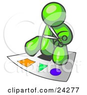 Clipart Illustration Of A Lime Green Man Holding A Pair Of Scissors And Sitting On A Large Poster Board With Colorful Shapes by Leo Blanchette