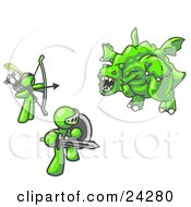 Clipart Illustration Of Two Lime Green Men Working Together To Conquer An Obstacle A Dragon