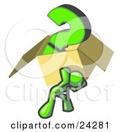Clipart Illustration Of A Lime Green Man Carrying A Heavy Question Mark In A Box by Leo Blanchette