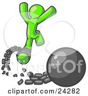 Clipart Illustration Of A Lime Green Man Jumping For Joy While Breaking Away From A Ball And Chain Symbolizing Freedom From Debt Or Divorce by Leo Blanchette