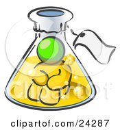 Clipart Illustration Of A Lime Green Man Trapped Inside A Bubbly Potion In A Laboratory Beaker With A Tag Around The Bottle