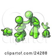 Clipart Illustration Of A Lime Green Family Father Mother And Newborn Baby With Their Dog And Cat by Leo Blanchette