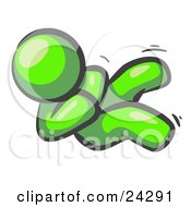 Clipart Illustration Of A Happy Lime Green Man Rolling On The Floor And Giggling With Laughter by Leo Blanchette