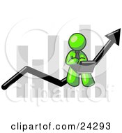 Clipart Illustration Of A Lime Green Man Conducting Business On A Laptop Computer On An Arrow Moving Upwards In Front Of A Bar Graph Symbolizing Success