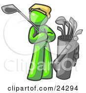 Clipart Illustration Of A Lime Green Man Standing By His Golf Clubs by Leo Blanchette