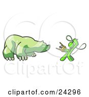 Clipart Illustration Of A Lime Green Man Holding A Stool And Whip While Taming A Bear Bear Market