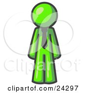 Lime Green Business Man Wearing A Tie Standing With His Arms At His Side by Leo Blanchette