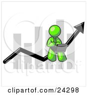 Clipart Illustration Of A Lime Green Man Using A Laptop Computer Riding The Increasing Arrow Line On A Business Chart Graph