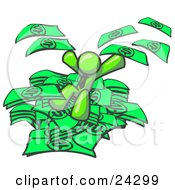 Clipart Illustration Of A Green Business Man Jumping In A Pile Of Money And Throwing Cash Into The Air