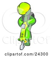 Lime Green Construction Worker Man Wearing A Hardhat And Operating A Yellow Jackhammer While Doing Road Work