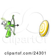 Clipart Illustration Of A Lime Green Man Aiming A Bow And Arrow At A Target During Archery Practice