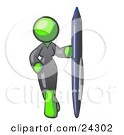 Clipart Illustration Of A Lime Green Woman In A Gray Dress Standing With One Hand On Her Hip Holding A Huge Pen by Leo Blanchette