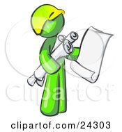 Lime Green Man Contractor Or Architect Holding Rolled Blueprints And Designs And Wearing A Hardhat