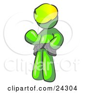 Clipart Illustration Of A Friendly Lime Green Construction Worker Or Handyman Wearing A Hardhat And Tool Belt And Waving by Leo Blanchette