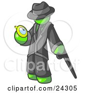 Clipart Illustration Of A Lime Green Businessman Checking His Pocket Watch
