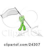 Clipart Illustration Of A Lime Green Man Claiming Territory Or Capturing The Flag by Leo Blanchette