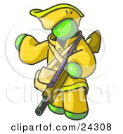 Clipart Illustration Of A Lime Green Man In Hunting Gear Carrying A Rifle