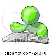 Clipart Illustration Of A Lime Green Man Character Seated And Reading The Daily Newspaper To Brush Up On Current Events