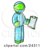Clipart Illustration Of A Lime Green Surgeon Man In Blue Scrubs Holding A Pen And Clipboard
