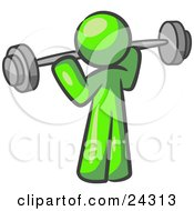 Clipart Illustration Of A Lime Green Man Lifting A Barbell While Strength Training by Leo Blanchette