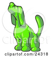 Clipart Illustration Of A Lime Green Tick Hound Dog Howling Or Sniffing The Air by Leo Blanchette