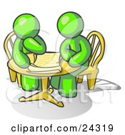 Clipart Illustration Of Two Lime Green Businessmen Sitting At A Table Discussing Papers by Leo Blanchette
