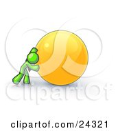 Clipart Illustration Of A Strong Lime Green Business Man Pushing An Orange Sphere by Leo Blanchette