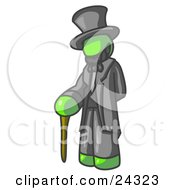 Clipart Illustration Of A Lime Green Man Depicting Abraham Lincoln With A Cane by Leo Blanchette