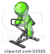 Clipart Illustration Of A Lime Green Man Exercising On A Stationary Bicycle