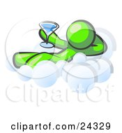 Clipart Illustration Of A Relaxed Lime Green Man Drinking A Martini And Kicking Back On Cloud Nine by Leo Blanchette
