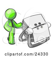Clipart Illustration Of A Lime Green Businessman Standing Beside A Rotary Card File With Blank Index Cards