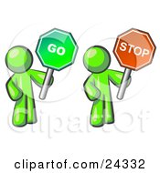 Clipart Illustration Of Lime Green Men Holding Red And Green Stop And Go Signs