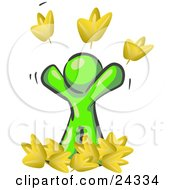 Clipart Illustration Of A Carefree Lime Green Man Tossing Up Autumn Leaves In The Air Symbolizing Happiness And Freedom
