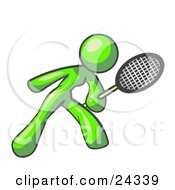 Clipart Illustration Of A Lime Green Woman Preparing To Hit A Tennis Ball With A Racquet