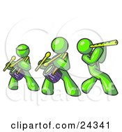 Clipart Illustration Of Three Lime Green Men Playing Flutes And Drums At A Music Concert