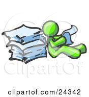 Clipart Illustration Of A Lime Green Man Leaning Against A Stack Of Papers