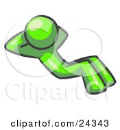Clipart Illustration Of A Lime Green Man Doing Sit Ups While Strength Training
