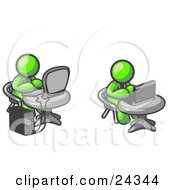 Clipart Illustration Of Two Lime Green Men Employees Working On Computers In An Office One Using A Desktop The Other Using A Laptop
