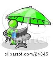 Clipart Illustration Of A Traveling Lime Green Business Man Sitting Under An Umbrella At A Table Using A Laptop Computer by Leo Blanchette