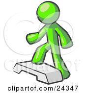 Clipart Illustration Of A Lime Green Man Doing Step Ups On An Aerobics Platform While Exercising by Leo Blanchette